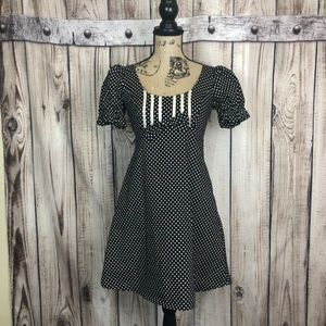 Betsey Johnson Black Polka Dot Swing Dress Size 2